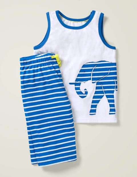Vest Appliqué Short Pyjama Set - Bold Blue/White