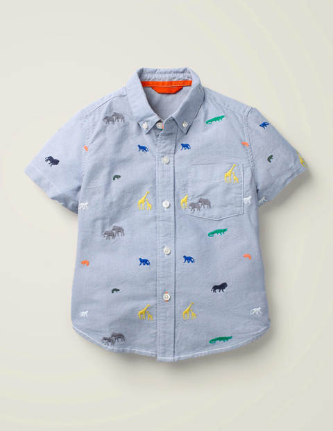 Embroidered Short Sleeve Shirt - Oxford Blue Safari Animals