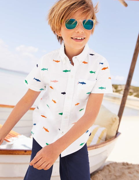Embroidered Short Sleeve Shirt - White Oxford Rainbow Shark