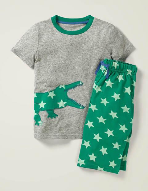 Bedruckter Schlafanzug mit Applikation - Grau Meliert, Krokodil