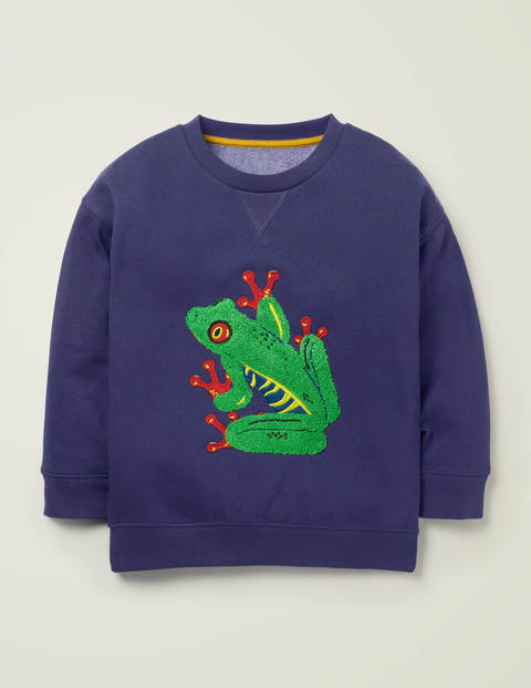 Animal Appliqué Sweatshirt - Indigo Navy Frog