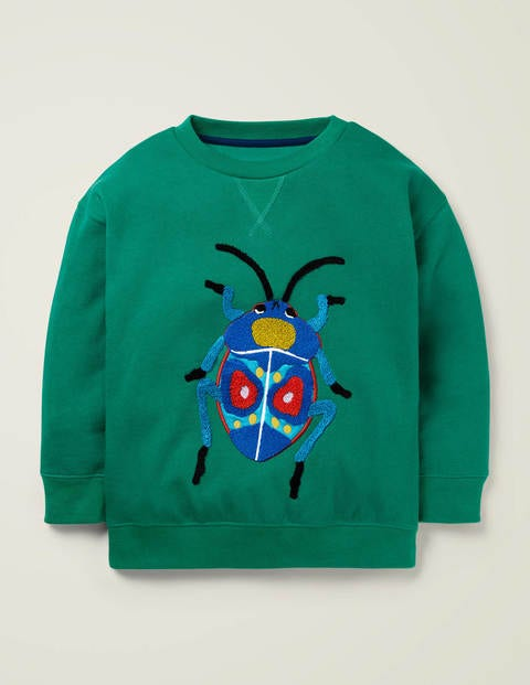 Animal Appliqué Sweatshirt - Alpine Green Beetle