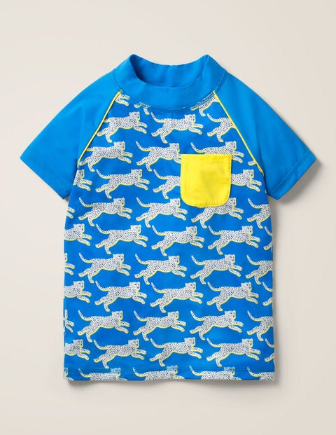 Cheetah Short-Sleeve Rash Vest - Pool Blue Cheetah