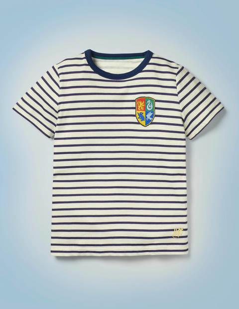Gestreiftes T-Shirt mit Hogwarts-Motiv