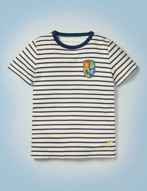 Hogwarts Breton T-shirt - College Blue/Ivory Crest