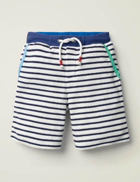 Strukturierte Shorts mit Rippbund - Weiß/Segelblau
