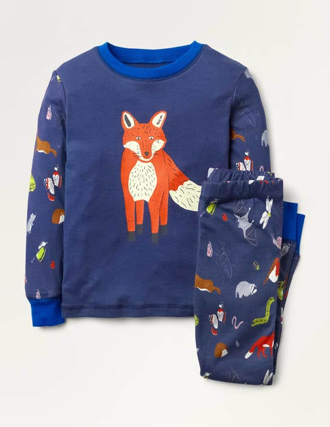 Cosy Long John Pyjamas - Starboard Blue Forest Friends