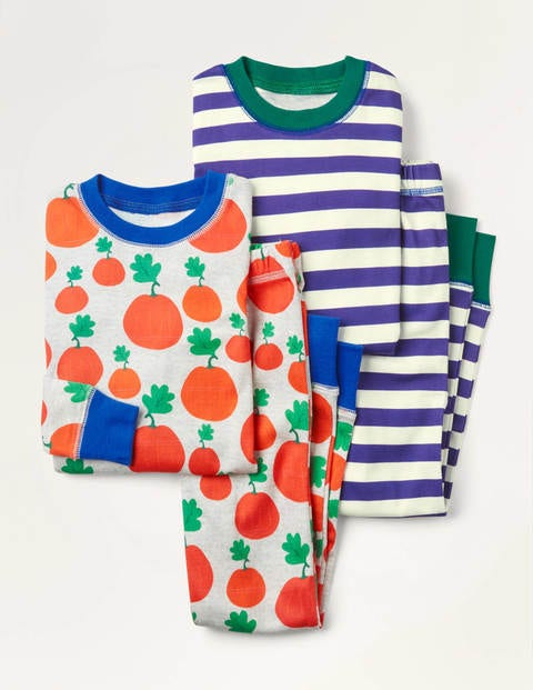 Cosy Twin Pack Long Pyjamas - Grey Marl Pumpkin Patch