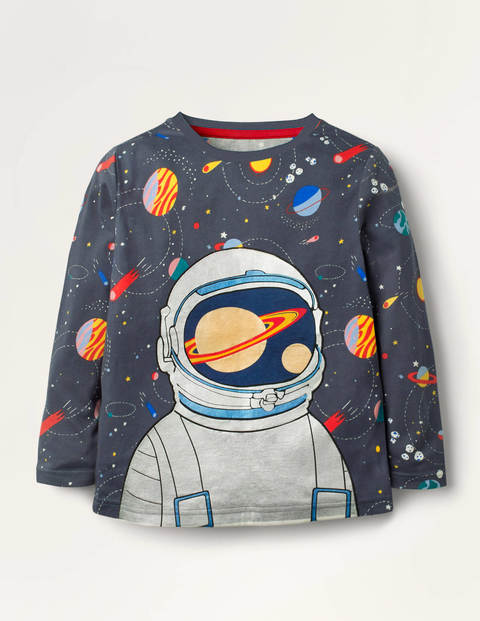 Shiny Astronaut T-shirt - Charcoal Space Astronaut