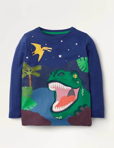 Adventure Appliqué T-shirt - Blue Gem Dino