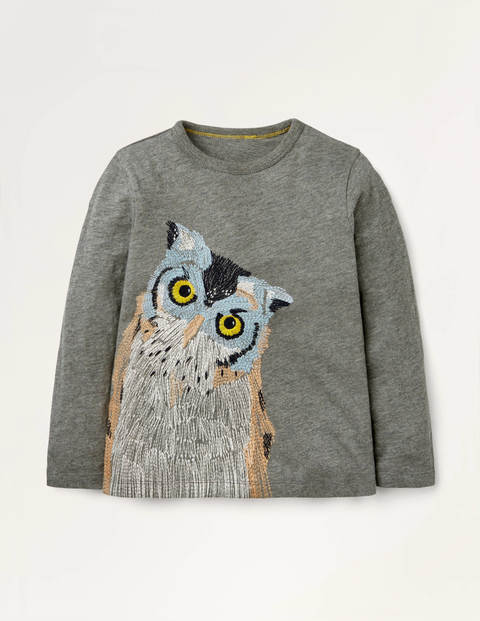 Superstitch Animal T-shirt - Charcoal Owl