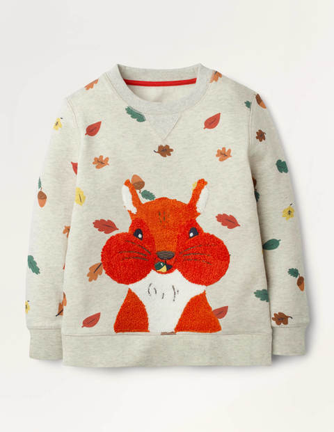 Bouclé Woodland Sweatshirt - Oatmeal Autumn Leaves Squirrel