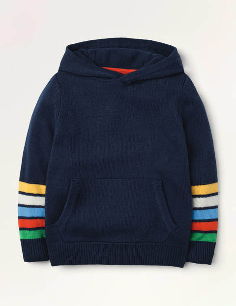 Knitted Stripe Hoodie - College Navy Rainbow