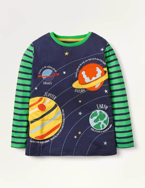 Lift-the-flap Space T-shirt - College Navy Planets