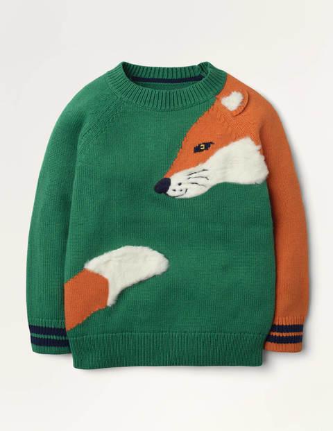 Woodland Crew Jumper - Forest Green Fox