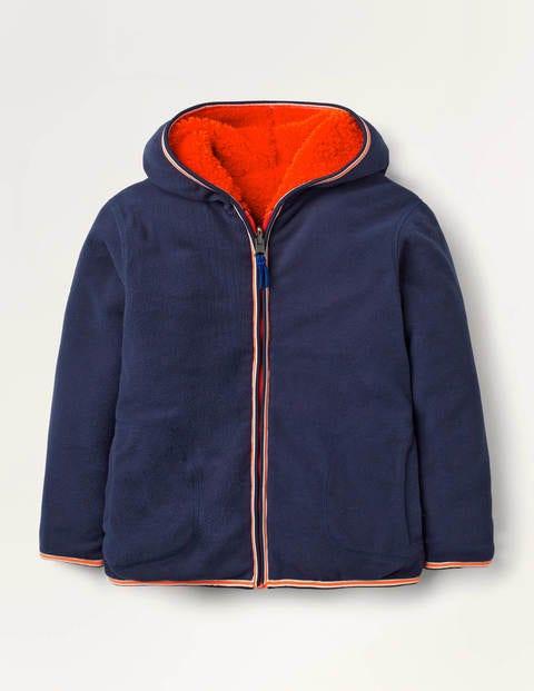 Cosy Reversible Zip-up Hoodie - College Navy/Orange Sunset