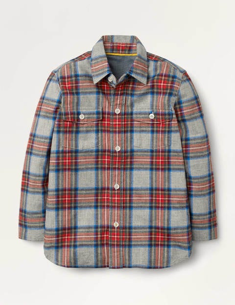 Cosy Brushed Check Shirt - Grey Marl/Red