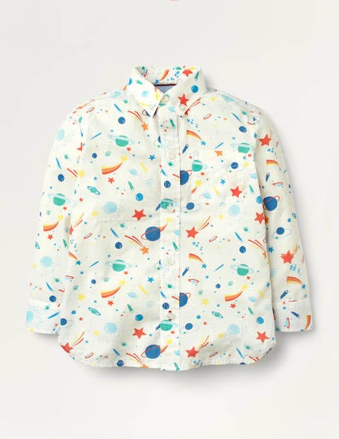 Space Print Party Shirt - Ivory Rainbow Space