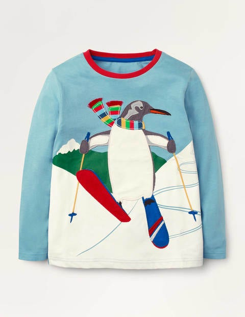 Polar Animal Appliqué T-shirt - Frost Blue Penguin