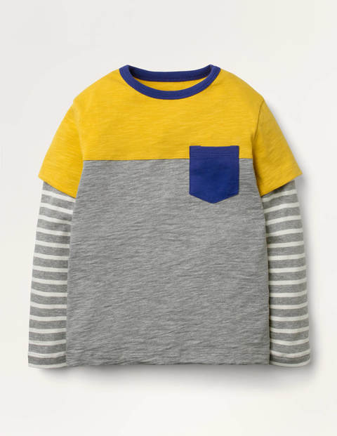 Colourblock Layered T-shirt - Grey Marl