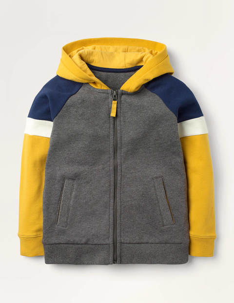 Colourblock Zip-up Hoodie - Charcoal Marl