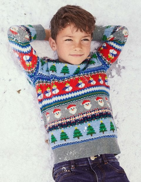 Christmas Fair Isle Jumper - Grey Marl Santas