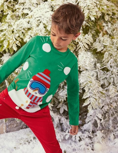 Lift-the-flap T-shirt - Highland Green Snowman