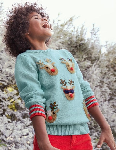 Light Blue Reindeer Chrsitmas Jumper - Frost Blue Reindeers