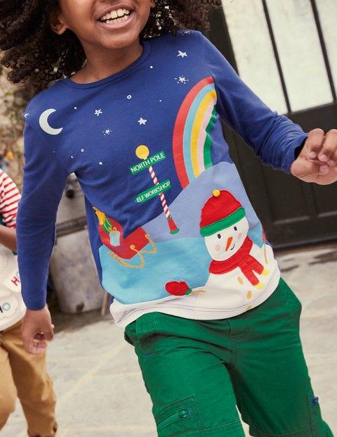 Christmas Scene T-shirt - Starboard Blue Snowman