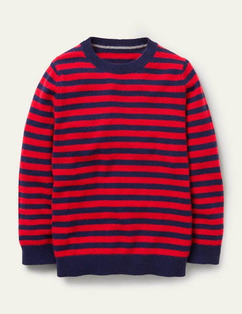 Cashmere Crew Neck Jumper - Starboard blue/Rockabilly red