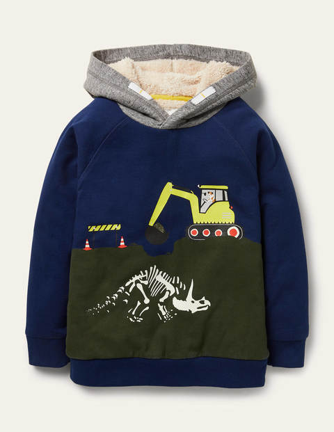 Shaggy-lined Dino Hoodie - Starboard Blue Dinosaur