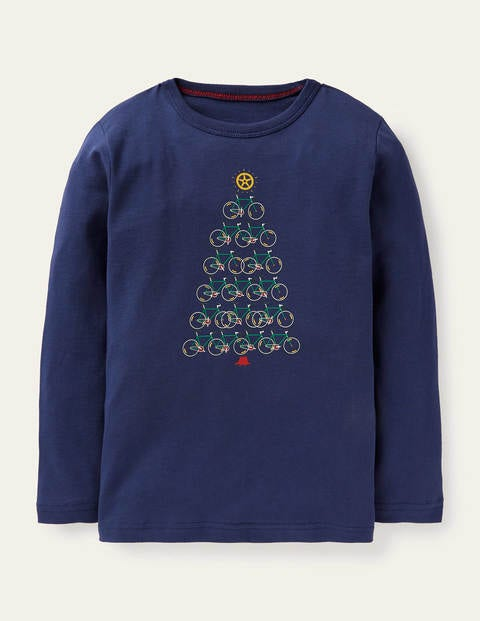 Sport Festive T-Shirt - Cadet Blue Christmas Tree