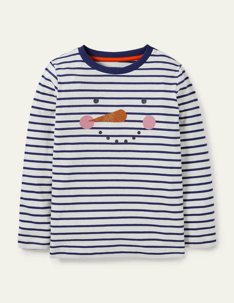 Festive Breton T-shirt - Ivory/Navy Snowman