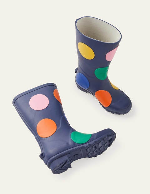 Polka Dot Wellies - College Navy