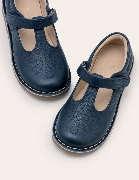Leather T-bar Flats - Navy