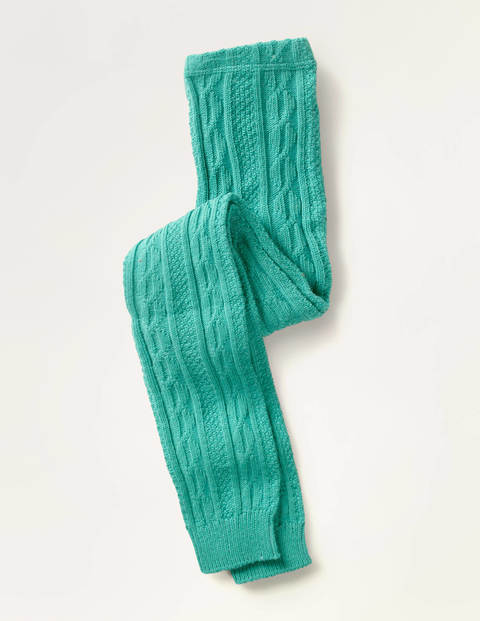 Cable Footless Tights - Soft Lilypad Green