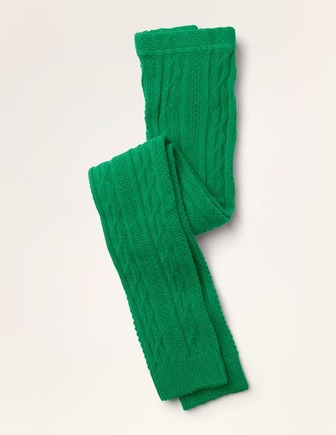 Cable Footless Tights - Asparagus Green