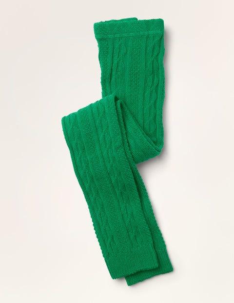 Fußlose Strumpfhose mit Zopfmuster - Spargelgrün