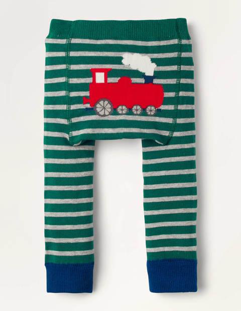 Knitted Leggings - Forest Green Train