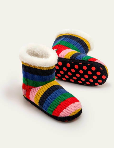 Knitted Slipper Boots - Rainbow Multi