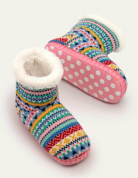 Knitted Slipper Boots - Multi Fair Isle