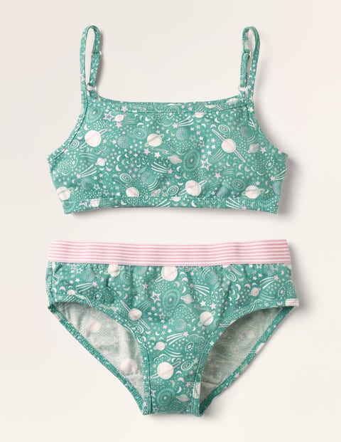Crop Top and Pants Set - Asparagus Green Cosmos