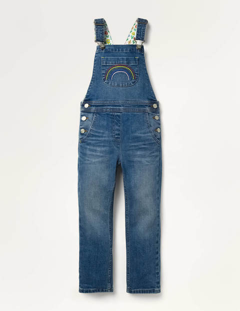 Fun Dungarees - Light Vintage Denim Rainbow