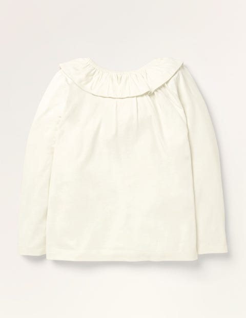 Ruffle Neck Top - Ivory