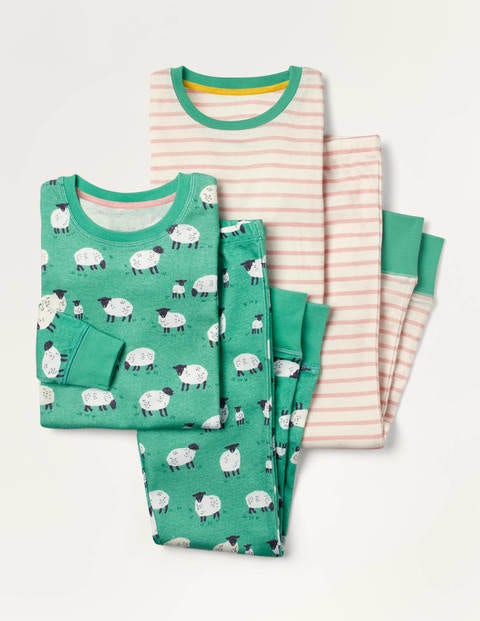 Twin Pack Long John Pajamas - Green Sheep/ Pink Stripe