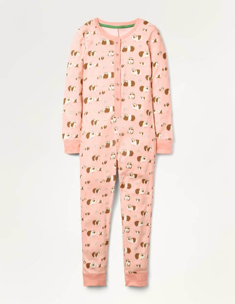 Cosy All-in-one Pyjamas - Dusty Pink Flower Guineas