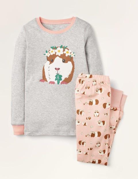 Snug Long John Pyjamas - Dusty Pink Guinea Pigs