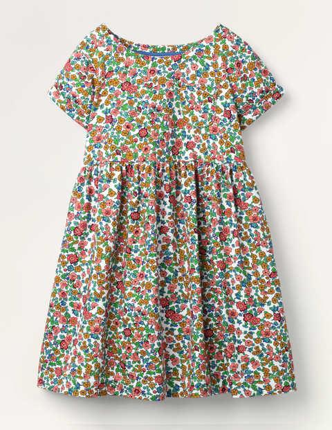 Fröhliches Jerseykleid - Bunt, Vintage-Blumenmuster