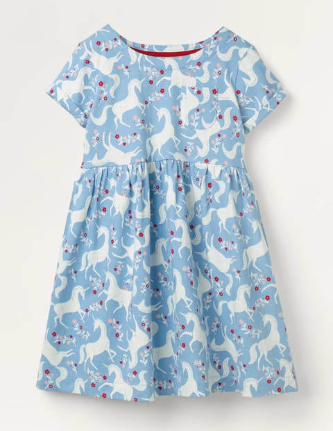 Fun Jersey Dress - Frosted Blue Unicorn