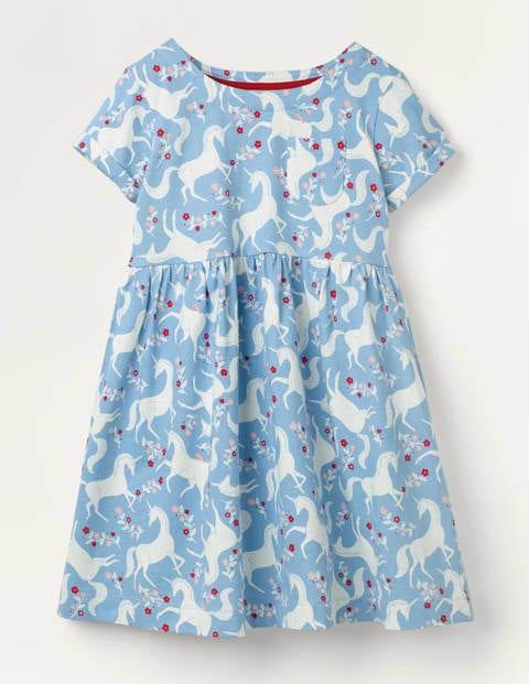 Fröhliches Jerseykleid - Eisblau, Einhorn